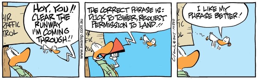 Swamp Cartoon - Air Traffic Control Runway ComicJanuary 26, 2015