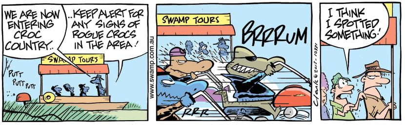 Swamp Cartoon - Rogue Crocodiles Motorbikes ComicFebruary 7, 2015