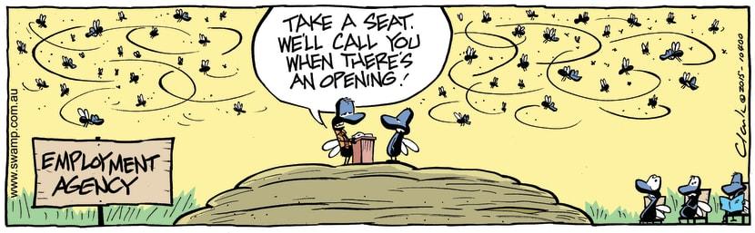 Swamp Cartoon - Flies Employment Agency ComicApril 30, 2015