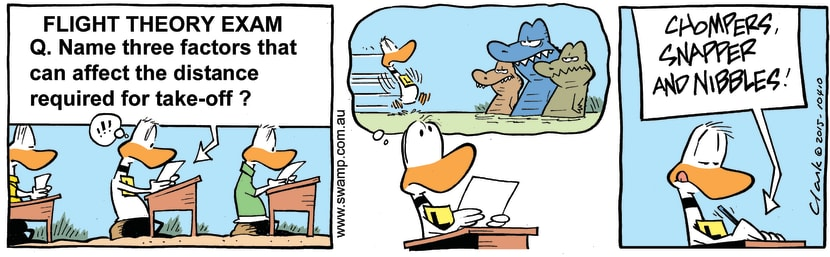 Swamp Cartoon - Ding Duck Take-off DistanceMay 12, 2015