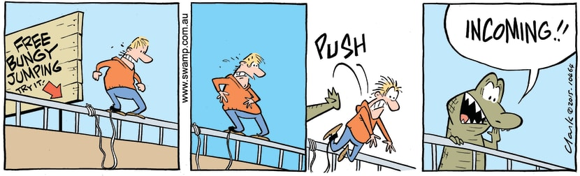 Swamp Cartoon - Chompers Crocodile Pushing ComicJuly 14, 2015