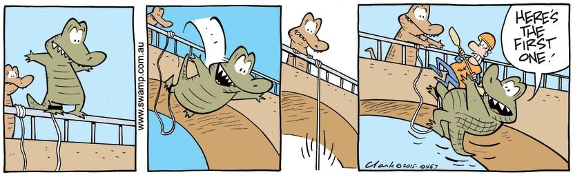 Swamp Cartoon - Chompers Crocodile Bungy Jumping ComicJuly 17, 2015