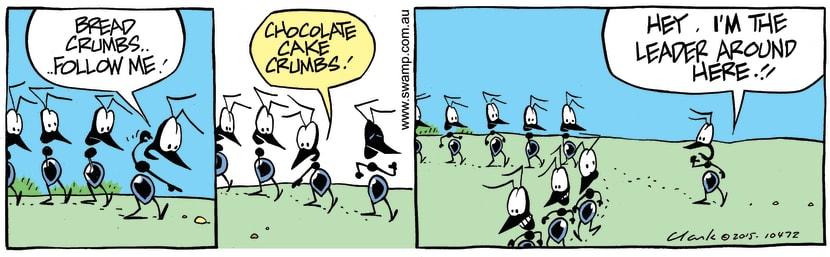 Swamp Cartoon - Ants Follow Breadcrumbs ComicJuly 23, 2015