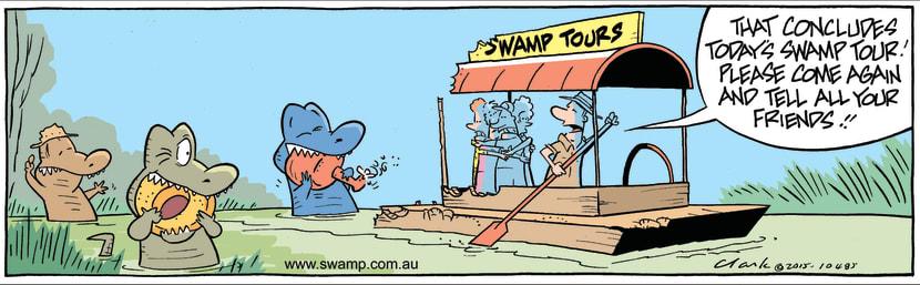Swamp Cartoon - Rogue Crocs Eat Tour Boat ComicAugust 7, 2015