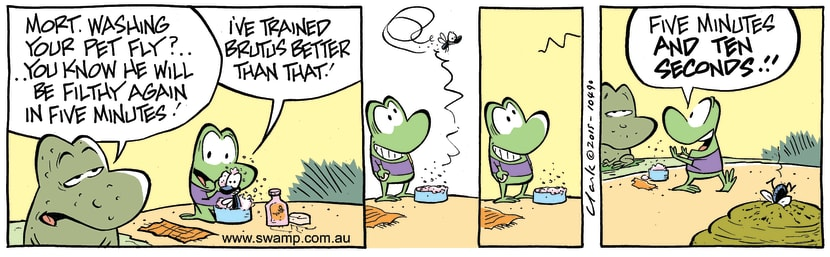Swamp Cartoon - Mort Frog Washing Brutus ComicAugust 13, 2015
