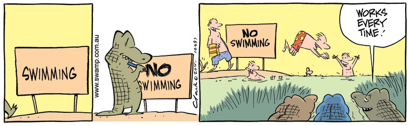Swamp Cartoon - No Swimming Crocodiles ComicAugust 21, 2015