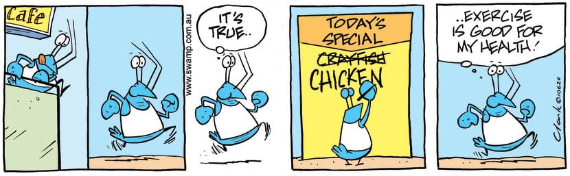 Swamp Cartoon - Bob Crayfish Exercise ComicJanuary 18, 2016