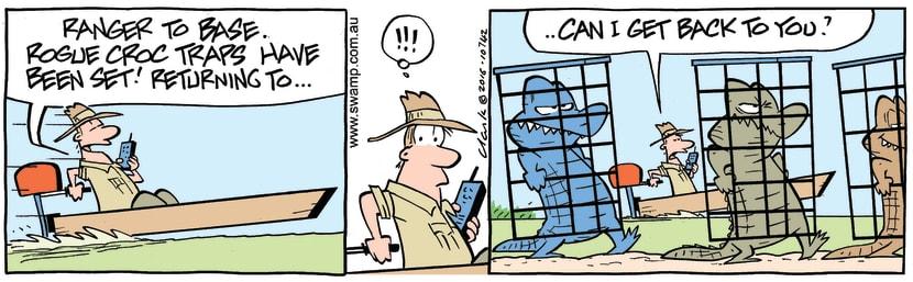 Swamp Cartoon - Ranger Sets Croc Traps ComicJune 2, 2016
