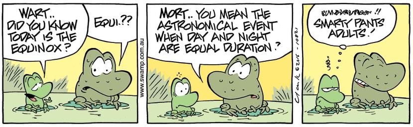 Swamp Cartoon - Mort Frog Equinox ComicSeptember 2, 2016