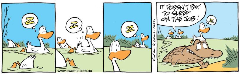 Swamp Cartoon - Swamp Duck Sleeping ComicOctober 31, 2016