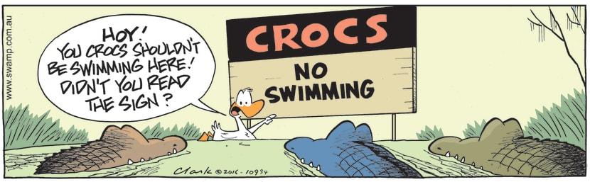 Swamp Cartoon - Rogue Crocs Swimming ComicJanuary 10, 2017