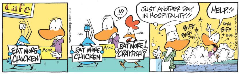 Swamp Cartoon - Bob Crayfish Hostilities ComicFebruary 13, 2017