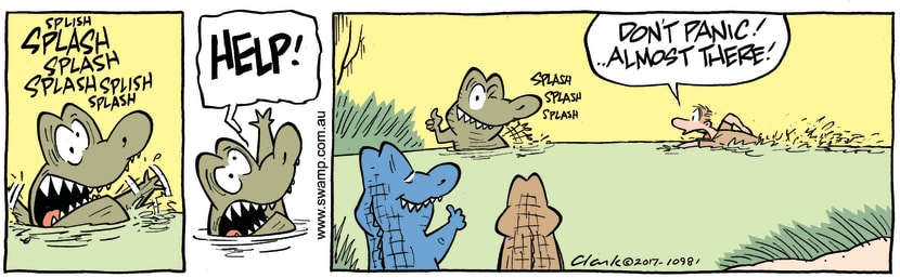 Swamp Cartoon - Chompers Croc Drowning ComicMarch 9, 2017