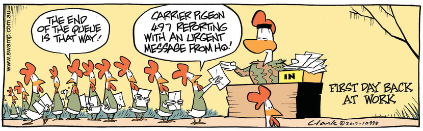 Swamp Cartoon - Carrier Pigeon Work ComicMarch 29, 2017
