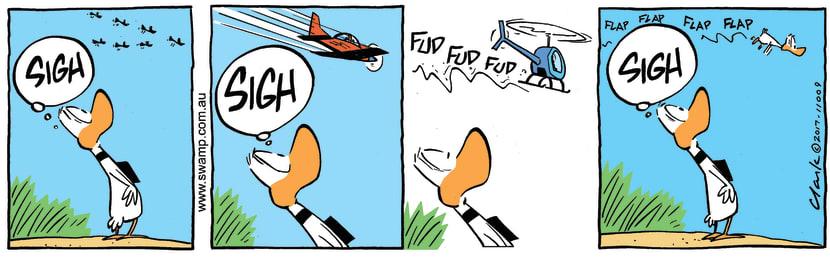 Swamp Cartoon - Ding Duck Flying EnvyApril 11, 2017