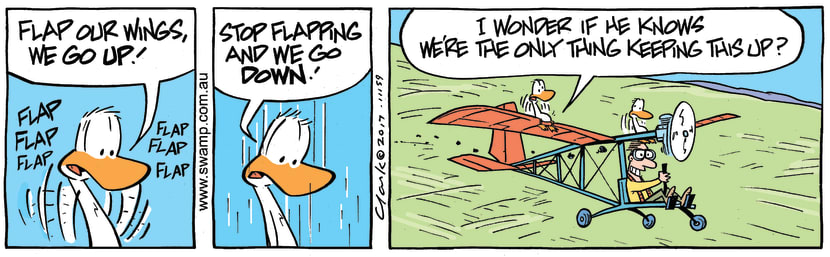 Swamp Cartoon - Swamp Ducks Flapping ComicOctober 3, 2017