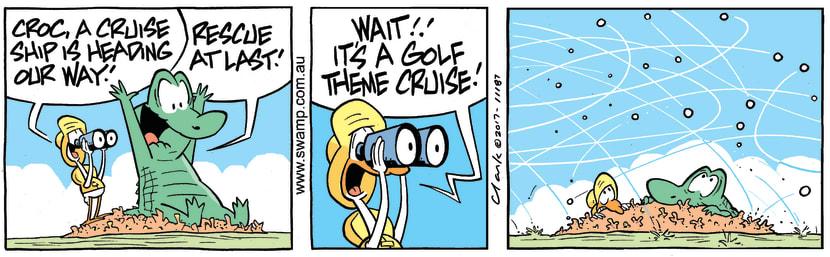 Swamp Cartoon - Old Man Croc Golf ComicNovember 2, 2017