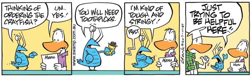 Swamp Cartoon - Bob Crayfish Toothpick ComicNovember 4, 2017