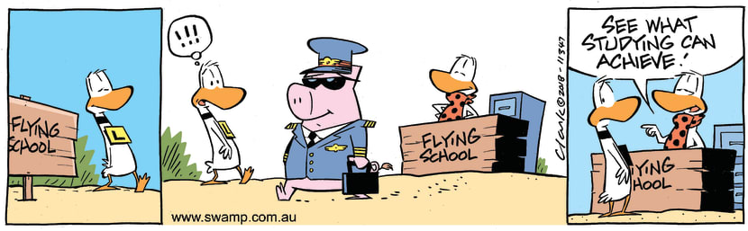 Swamp Cartoon - Ding Duck Pigs FlyMay 11, 2018