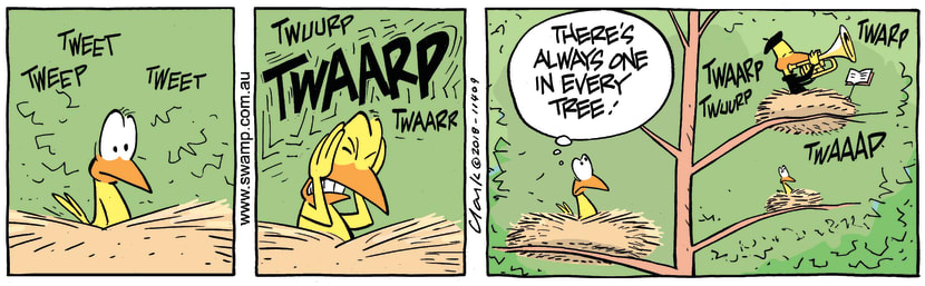 Swamp Cartoon - Swamp Bird Trumpet ComicJuly 23, 2018
