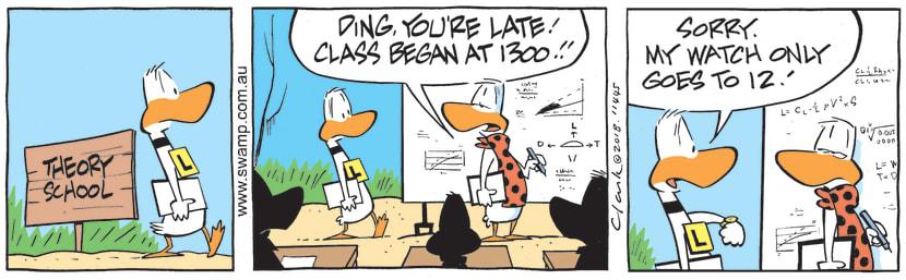Swamp Cartoon - Ding Duck Arrives LateSeptember 3, 2018