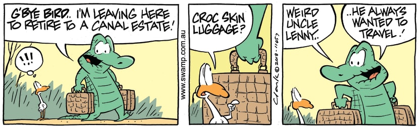 Swamp Cartoon - Old Man Croc Retirement ComicSeptember 17, 2018