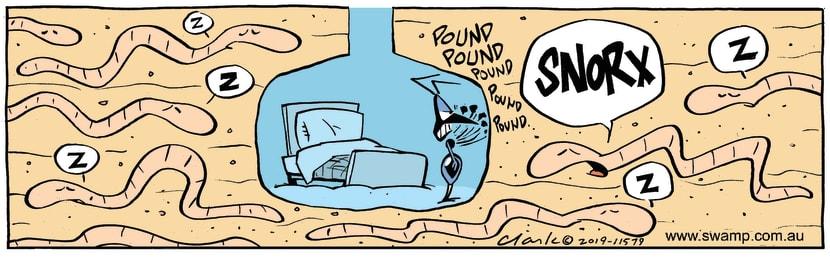 Swamp Cartoon - Swamp Worms Snoring ComicJanuary 22, 2019