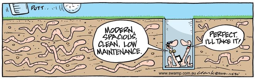 Swamp Cartoon - Worm Golf Hole ComicApril 9, 2019