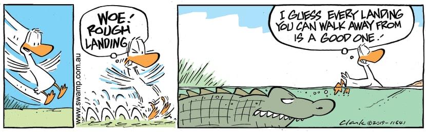 Swamp Cartoon - Duck Good Landing ComicApril 22, 2019