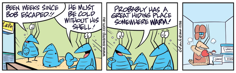 Swamp Cartoon - Bob Crayfish HidingJuly 5, 2019