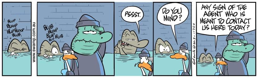Swamp Cartoon - Old Man Croc Meeting AgentSeptember 11, 2019