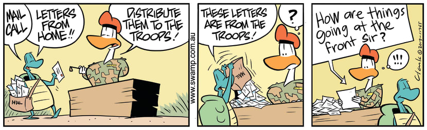 Swamp Cartoon - Army Duck Mail DeliverySeptember 12, 2019