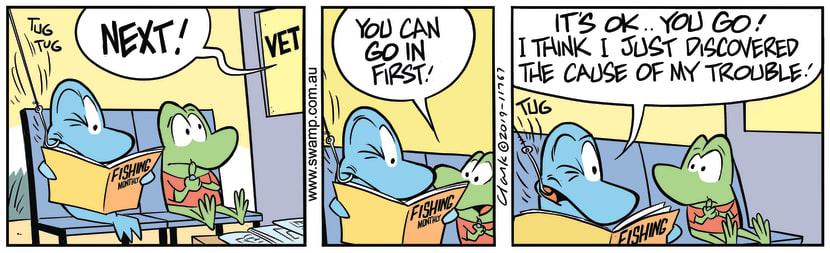 Swamp Cartoon - Fish Reading MagazineSeptember 14, 2019