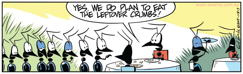Swamp Cartoon - Eating Leftover CrumbsNovember 7, 2019