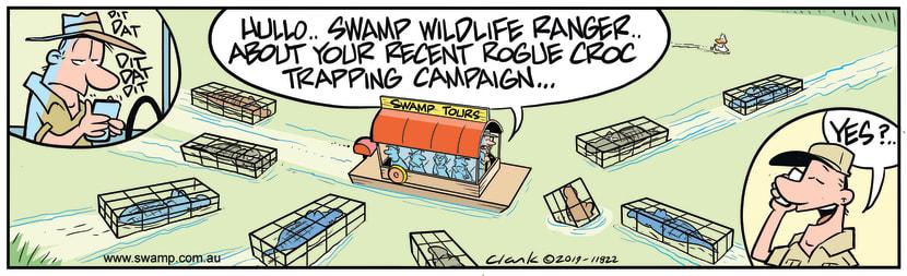 Swamp Cartoon - Rogue Croc Trapping CampaignNovember 18, 2019