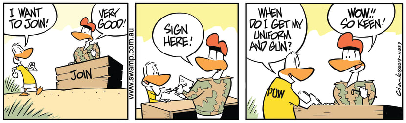 Swamp Cartoon - Keen New Army Duck RecruitNovember 23, 2019