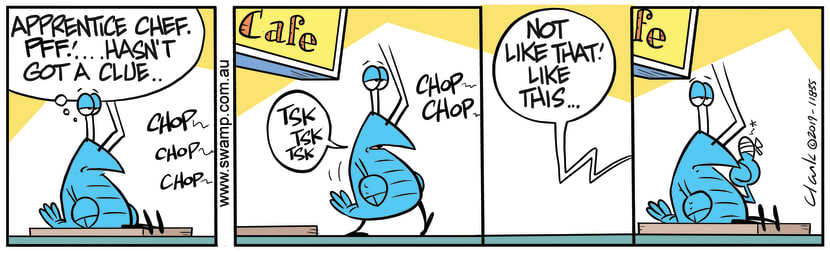 Swamp Cartoon - Bob Crayfish Shows Apprentice ChefNovember 30, 2019