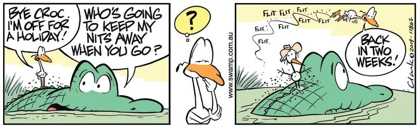 Swamp Cartoon - Nitpicker Bird on HolidaysDecember 10, 2019