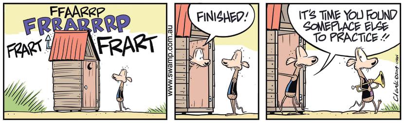 Swamp Cartoon - Chives Rat Trumpet PracticeDecember 13, 2019