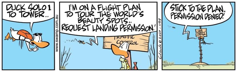 Swamp Cartoon - Duck Solo 1 Permission to LandMarch 13, 2020