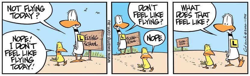 Swamp Cartoon - Ding Duck Questions BirdApril 1, 2020