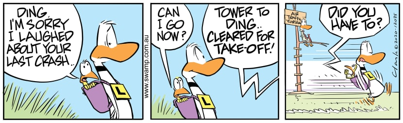 Swamp Cartoon - Ding Duck Cleared for Take-offJuly 27, 2020