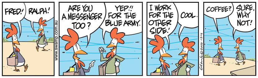 Swamp Cartoon - Carrier Pigeons Coffee BreakOctober 26, 2020
