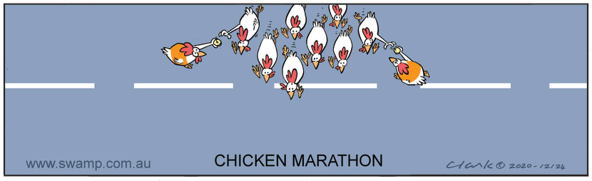 Swamp Cartoon - Chickens Running a MarathonNovember 7, 2020