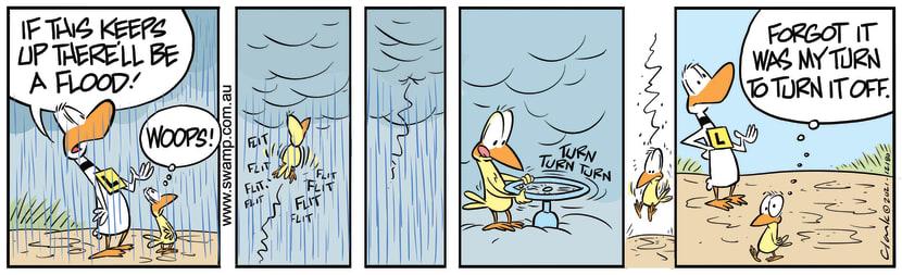 Swamp Cartoon - Rain Pouring Down on Ding DuckJanuary 21, 2021