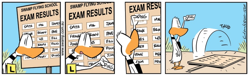 Swamp Cartoon - Ding Duck Checks Exam ResultsFebruary 18, 2021