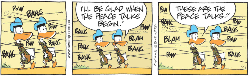 Swamp Cartoon - Army Ducks Discuss Peace TalksMay 10, 2021