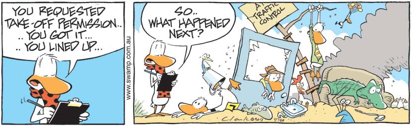 Swamp Cartoon - Flight Instructor Asks Ding DuckJune 10, 2021