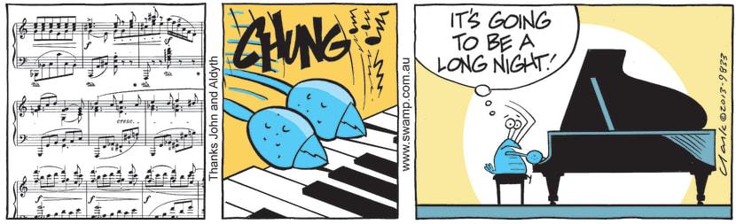 Swamp Cartoon - Bob Crayfish at the PianoJune 29, 2021