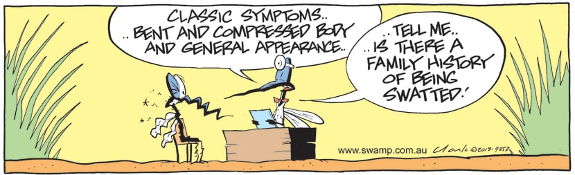 Swamp Cartoon - Mosquito Visits DoctorJuly 9, 2021